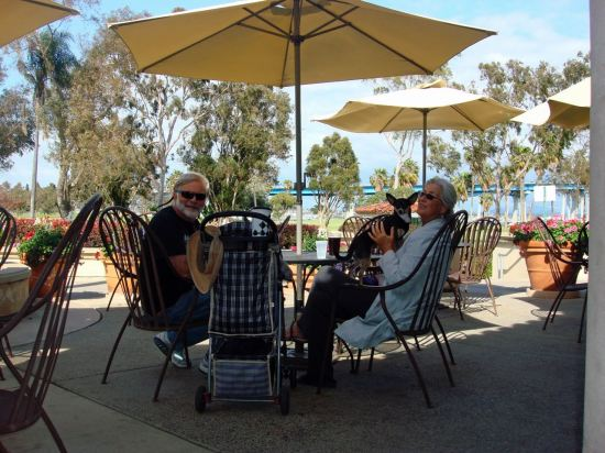 Our favorite daytime hang out. The patio of the Coronado Golf Course Clubhouse