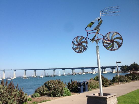 The bridge and a public art tree