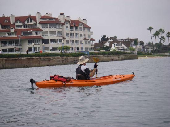 Jim paddles home on the bay side of Coronado