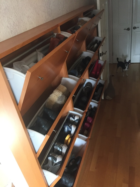 Carmen's most prized possession: the Imelda Marcos shoe cabinet